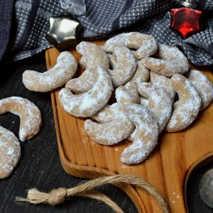 špaldové vanilkové rohlíčky s lískáči