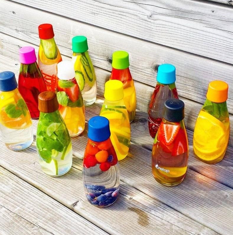 skleněné lahve na vodu retap