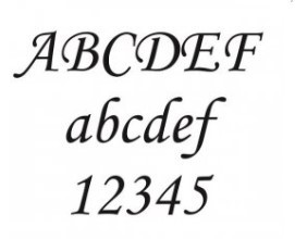 písmo k pískování textu na sklo