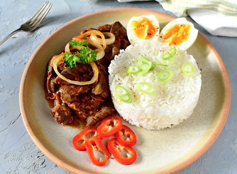 kuřecí játra s rýží
